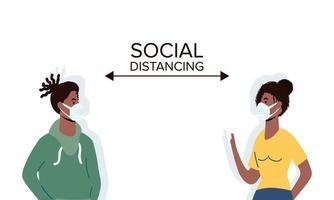 les gens à distance sociale avec des masques faciaux