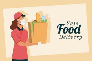 livraison en ligne d'aliments sûrs avec une travailleuse