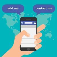 Les médias sociaux ajoutent et contactent-moi le concept vecteur
