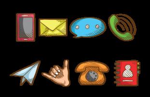 Sketchy Contactez-moi Icons Vector