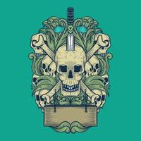 art du crâne avec style de gravure