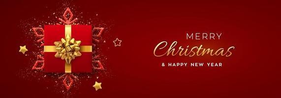 bannière de Noël. coffret cadeau rouge avec noeud doré