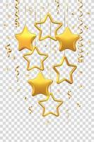 étoiles dorées scintillantes suspendues avec des confettis