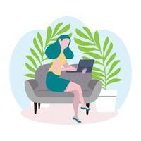 femme d & # 39; affaires travaille avec le concept d & # 39; ordinateur portable vecteur