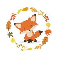 renard avec conception de cercle de décoration de feuilles
