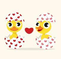 couple de canard amoureux dans l'oeuf vecteur