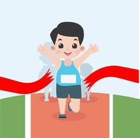 garçon, jogging, dans, course marathon vecteur