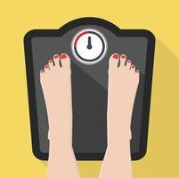 pieds sur une échelle de poids