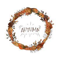 Couronne d'automne de fleurs et de feuilles à la saison d'automne vecteur