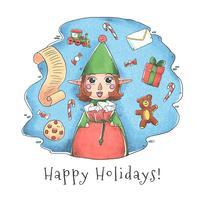Elfe mignon de Santa avec des jouets et une liste de Noël vecteur