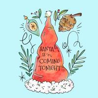 Bonnet de Noel mignon avec des éléments de Noël autour et citation vecteur