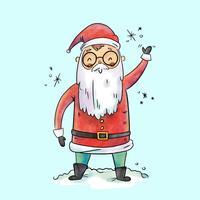 Mignon personnage Santa souriant et disant Salut
