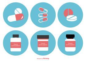 Collection d'icônes Flat Style Supplements vecteur