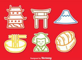 Vecteur d'icônes de la culture japonaise