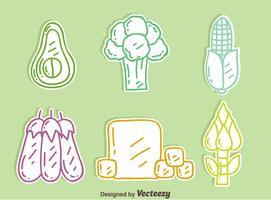 Dessinés à la main Vegan Food Icons Vector