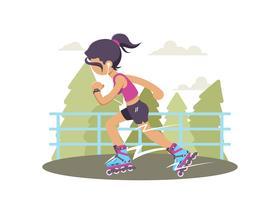 Jeune fille sur l'Illustration de la Rollerblade vecteur