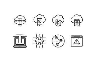 Ensemble d'icônes de Cloud Computing vecteur