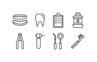 Jeu d'icônes de dentiste vecteur