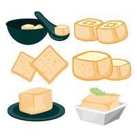 Vecteur gratuit d'icônes de soja tofu