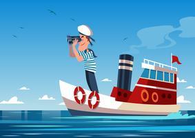 Marin au bateau vecteur