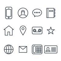 Contacter les icônes décrites vecteur