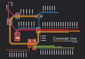 Conception de vecteur de carte de métro ligne de banlieue
