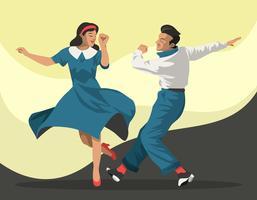 Couple habillé dans la mode des années 1940 dansant une danse du robinet, Illustration vectorielle vecteur