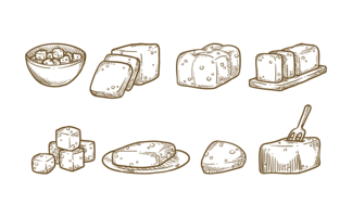 Vecteur d'icônes de tofu