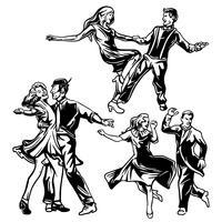 Tap Dance Couples Vecteurs vecteur