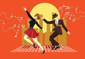 Illustration de Couple habillé dans les années 1940 Fashion Tap Dancing vecteur