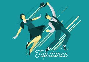 Couple habillé dans les années 1940 Fashion Tap Dancing vecteur