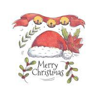 Mignon chapeau de santa avec des feuilles de Noël et vecteur de poinsettia
