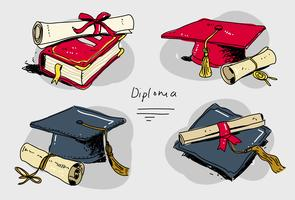 Diplôme Diplôme Set Hand Drawn Vector Illustration