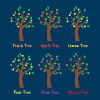 Ensemble d'illustration arbres et fruits vecteur