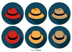 Collection d'icônes de chapeau de Panama vecteur