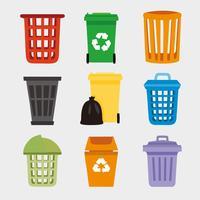 Vecteur gratuit de panier de déchets complet de couleur
