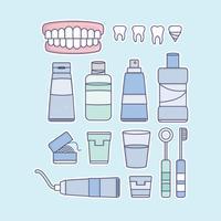 Faux dents de vecteur et éléments de dentiste