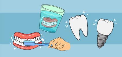 Vecteurs de soins des fausses dents vecteur