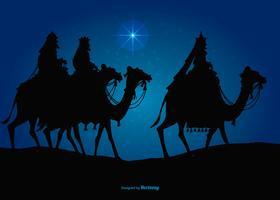 Trois Rois Mages en route pour visiter Jésus vecteur