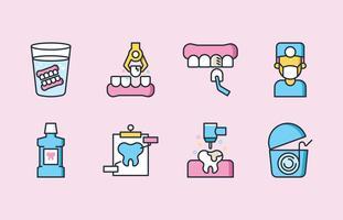 Ensemble d'icônes de soins dentaires vecteur