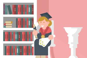 Diplômé avec diplôme Illustration vecteur