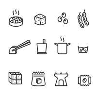 Vecteur d'icônes de soja tofu
