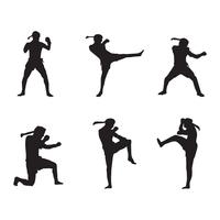 Muay Thai Logo Silhouette vecteur