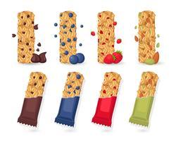 Ensemble de barres de granola vecteur