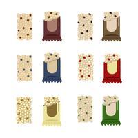 Barres granola colorées vecteur