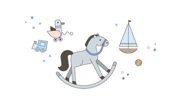 Vecteur de cheval à bascule gratuit
