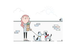 Vecteur gratuit de chien de marche