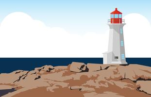 Phare sur l'illustration de la côte vecteur