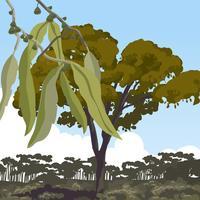 Paysage avec vecteur de gomme d'arbre