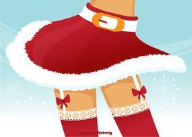 Jambes de Noël de femme avec des ceintures de jarretière de dentelle